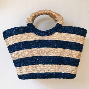 Handbags - Large Blue Striped Straw Bag